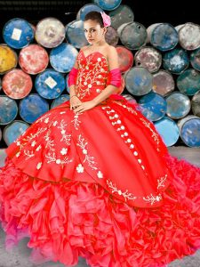 Red Ball Gowns Organza Sweetheart Sleeveless Embroidery and Ruffles Lace Up Quinceanera Dresses Brush Train