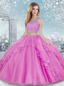 Edgy Lilac Two Pieces Tulle Scoop Sleeveless Beading and Lace Floor Length Clasp Handle Ball Gown Prom Dress