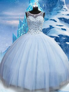 Affordable Tulle Scoop Sleeveless Lace Up Beading Quinceanera Gown in Light Blue