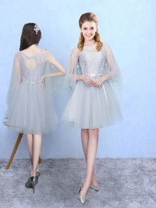 Silver Sleeveless Knee Length Lace Lace Up Court Dresses for Sweet 16