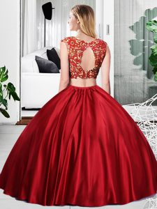 Wine Red Sleeveless Taffeta Zipper Sweet 16 Quinceanera Dress for Military Ball and Sweet 16 and Quinceanera