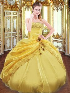 Enchanting Gold Taffeta Lace Up Strapless Sleeveless Floor Length Quince Ball Gowns Beading and Pick Ups