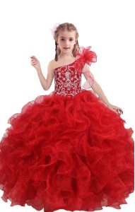 Custom Designed Sleeveless Beading and Ruffles Lace Up Pageant Dresses