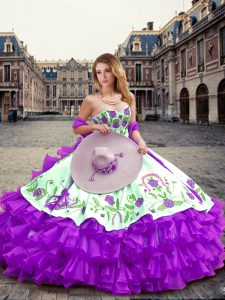 Eggplant Purple Ball Gowns Organza Sweetheart Sleeveless Embroidery and Ruffled Layers Floor Length Lace Up Sweet 16 Quinceanera Dress