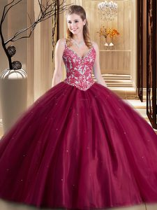 Tulle Spaghetti Straps Sleeveless Lace Up Beading and Lace and Appliques Quinceanera Dresses in Burgundy