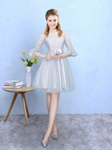 Custom Design Silver Off The Shoulder Lace Up Lace Dama Dress Half Sleeves