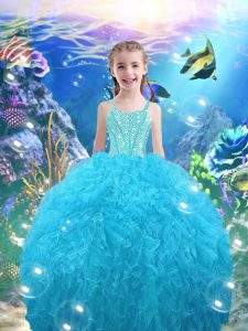 Top Selling Aqua Blue Straps Neckline Beading and Ruffles Custom Made Pageant Dress Sleeveless Lace Up