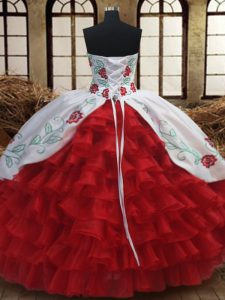 Sleeveless Floor Length Embroidery and Ruffled Layers Lace Up 15 Quinceanera Dress with Fuchsia