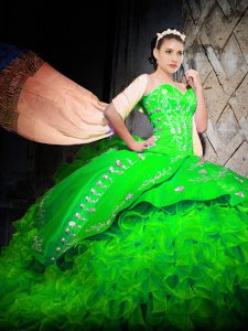 Brush Train Ball Gowns Quince Ball Gowns Green Sweetheart Organza Sleeveless With Train Lace Up