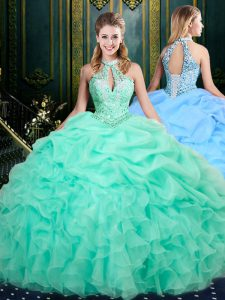 Apple Green Sleeveless Beading and Ruffles and Pick Ups Floor Length Quinceanera Dress