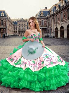 Dramatic Green Lace Up Sweetheart Embroidery and Ruffled Layers Sweet 16 Quinceanera Dress Organza Sleeveless