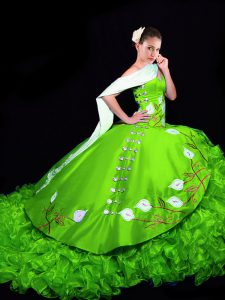 Customized Ball Gowns Embroidery and Ruffles Quinceanera Gown Lace Up Organza Sleeveless