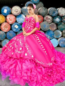 Sleeveless Embroidery and Ruffles Lace Up Quinceanera Dresses with Hot Pink Brush Train
