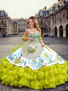 Super Yellow Green Sweetheart Lace Up Embroidery and Ruffled Layers Sweet 16 Dresses Sleeveless