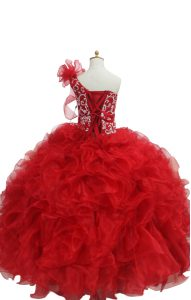 Sleeveless Floor Length Beading and Ruffles Lace Up Pageant Dresses with Fuchsia