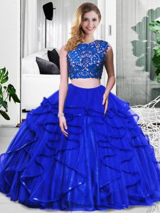 Royal Blue Sleeveless Tulle Zipper 15th Birthday Dress for Military Ball and Sweet 16 and Quinceanera