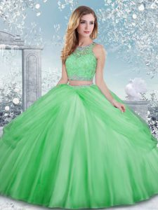 Amazing Sleeveless Floor Length Beading and Lace Clasp Handle Quinceanera Dresses with