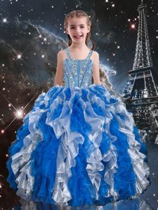 Fashionable Floor Length Blue Pageant Dresses Organza Sleeveless Beading and Ruffles