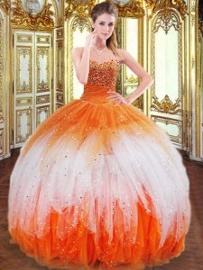 Best Multi-color Sleeveless Floor Length Beading and Ruffles Lace Up Quinceanera Dresses