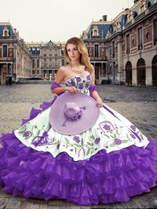 Floor Length Lace Up Quince Ball Gowns Lavender for Military Ball and Sweet 16 and Quinceanera with Embroidery and Ruffled Layers