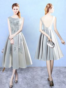 Fancy Silver A-line Scoop Sleeveless Satin Tea Length Backless Appliques Quinceanera Dama Dress