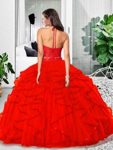 Cute Two Pieces Sweet 16 Dresses Red Halter Top Tulle Sleeveless Floor Length Zipper
