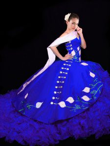 Sumptuous Sleeveless Organza Brush Train Lace Up Sweet 16 Quinceanera Dress in Royal Blue with Embroidery