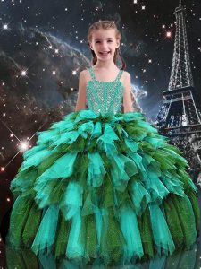 Perfect Turquoise Sleeveless Beading and Ruffles Floor Length Pageant Dress for Teens