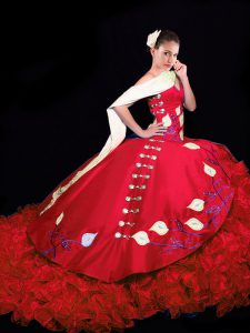 Elegant Red Sleeveless Taffeta Brush Train Lace Up Quinceanera Dress for Military Ball and Sweet 16 and Quinceanera
