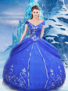 Floor Length Blue Quinceanera Dress V-neck Short Sleeves Lace Up