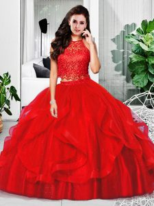 Red Two Pieces Tulle Halter Top Sleeveless Lace and Ruffles Floor Length Zipper 15 Quinceanera Dress