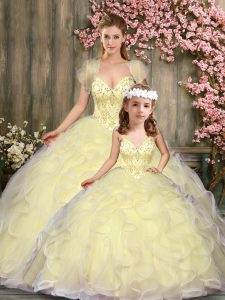Luxurious Sweetheart Sleeveless Tulle Sweet 16 Quinceanera Dress Beading and Ruffles Lace Up