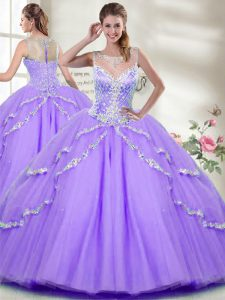 Fashionable Sleeveless Tulle Floor Length Zipper Quinceanera Dresses in Lavender with Beading