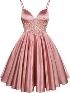 Pink Sleeveless Lace Knee Length Quinceanera Court of Honor Dress