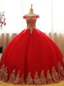 Red Ball Gowns Tulle Off The Shoulder Sleeveless Appliques Floor Length Lace Up Sweet 16 Quinceanera Dress