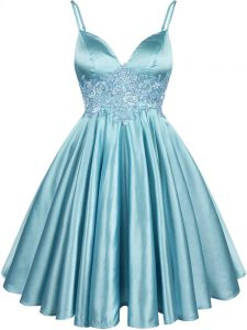 Aqua Blue Sleeveless Knee Length Lace Lace Up Quinceanera Dama Dress