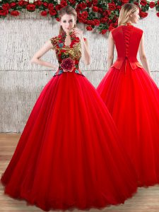 Chic Red Short Sleeves Appliques Floor Length Quinceanera Gown