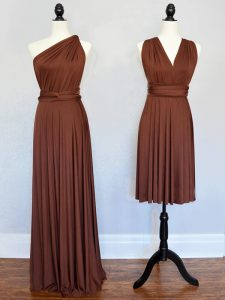 Sleeveless Chiffon Floor Length Lace Up Vestidos de Damas in Brown with Ruching