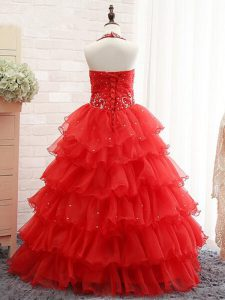Sleeveless Beading and Ruffled Layers Lace Up Custom Made Pageant Dress