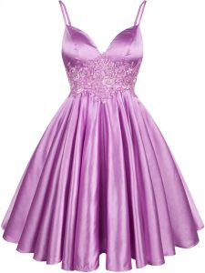 New Style Spaghetti Straps Sleeveless Elastic Woven Satin Quinceanera Dama Dress Lace Lace Up