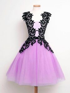 Lilac Sleeveless Knee Length Lace Lace Up Quinceanera Court of Honor Dress