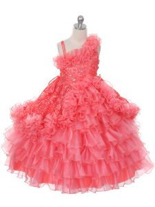 Watermelon Red Organza Lace Up Asymmetric Sleeveless Floor Length Pageant Dresses Lace and Ruffles and Ruffled Layers