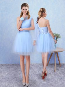 Stylish Aqua Blue Asymmetric Lace Up Belt Quinceanera Dama Dress Sleeveless