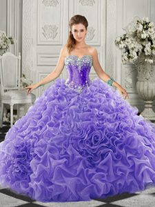 Fitting Sweetheart Sleeveless Sweet 16 Dresses Court Train Beading and Ruffles Lavender Organza