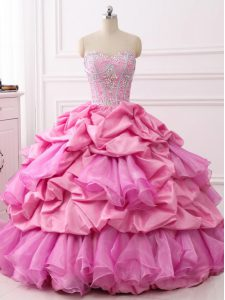 Customized Organza and Taffeta Sweetheart Sleeveless Lace Up Beading and Ruffles and Pick Ups Quinceanera Dresses in Rose Pink