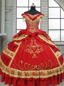 Red Satin and Taffeta Zipper 15th Birthday Dress Cap Sleeves Floor Length Beading and Embroidery and Ruffled Layers