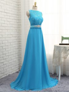 Baby Blue Empire Beading and Lace Quinceanera Court of Honor Dress Zipper Chiffon Sleeveless