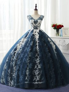 Navy Blue Sleeveless Floor Length Ruffles and Pattern Lace Up Ball Gown Prom Dress