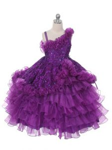 Floor Length Purple Pageant Dress for Womens Asymmetric Sleeveless Lace Up