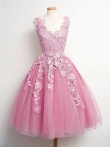 Discount Pink Sleeveless Knee Length Lace Lace Up Quinceanera Court of Honor Dress